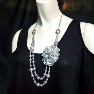 Silver & Gray Multilayer Flower Necklace